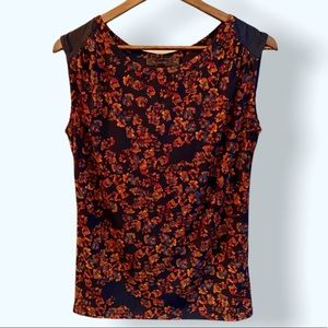 THE LIMITED Sleeveless Fall Floral Navy Top, XS